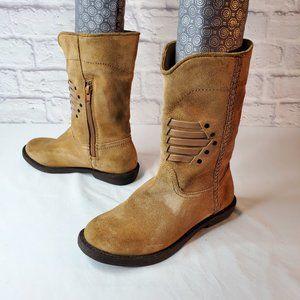 Calvin Klein, womens, tan suede boots, sz 6